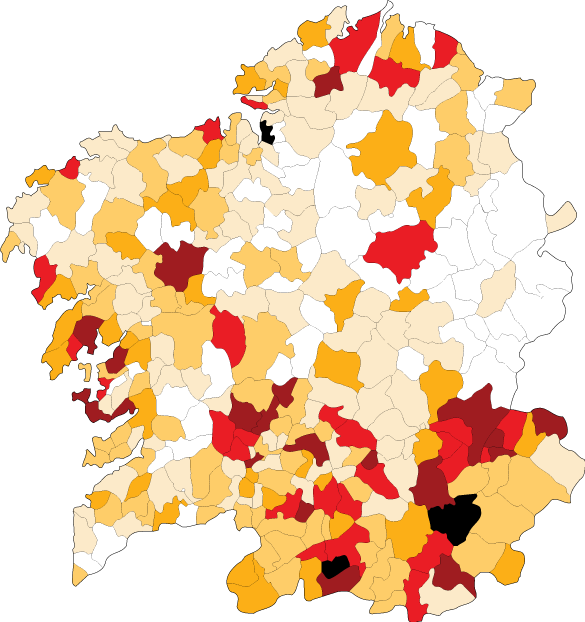 Council Debt map. Black (>€1,000), brown (€500 - €1,000), red (€400-499), dark orange (€300-399), light orange (€200-299), pale yellow (€100-199), white (<€100)