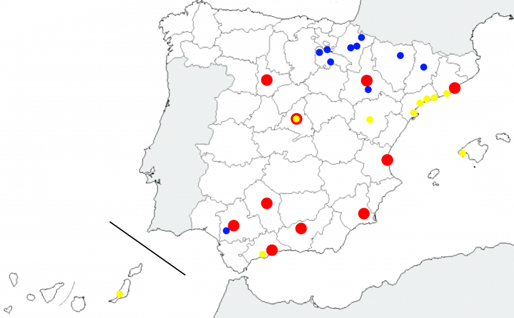 Council debt's map. In red, the top10 in total debt. In blue, the top10 in debt per inhabitant. In yellow, the top10 in debt per inhabitant, with more than 20,000 inhabitants.
